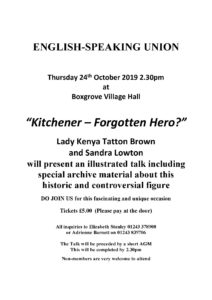 Kitchener - Forgotten Hero @ Small Hall, Boxgrove Village Hall